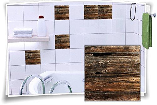 Medianlux Fliesenaufkleber Fliesen Aufkleber Holz Baum Kiefer Fichte Rustikal Bad WC Küche Kachel Imitat Deko Holzimitat, 12 Stück, 20x20cm