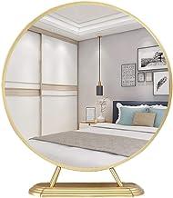 GRJ Household Items& LED espelho de maquiagem nórdico, espelho de mesa de ferro forjado, mesa de trabalho, quarto, casa (c...