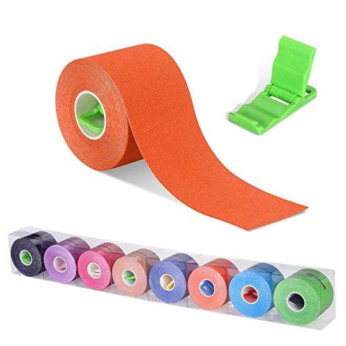 Cinta Kinesiología, Kinesiología Tape, Cinta quinesiológica, cinta de soporte, rollo de 5m x 5cm, elástico e impermeable para el cuello espalda hombros brazos muñecas muslos tobillos y rodillas