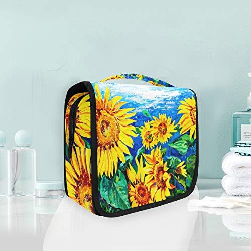 Cosmetic Bag Voyage Hanging Trousse De Toilette Art Peinture Brillant Tournesol Voyage Sac De Rangement Portable Maquillage Poche Sac Organisateur Cas pour Les Femmes