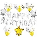 KUNGYO Decoraciones de Fiesta de Cumpleaños, Plata Happy Birthday Feliz Cumpleaños Banner de Carta, Balloon de Estrella, Cintas, Globos de Confeti de Látex
