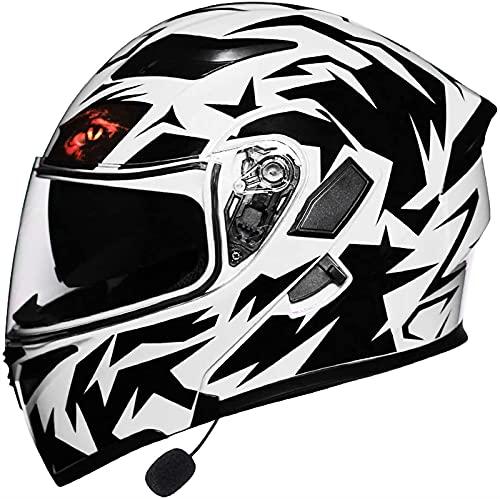 ZYQZYQ Motorcycle Bluetooth Modular Flip Up Casco, Dot/ECE Viseras duales aprobadas Cascos de Cara Completa Motorbike Modular Crash Cascar Casco Incorporado Radio Integrado Intercomunicador Sistema