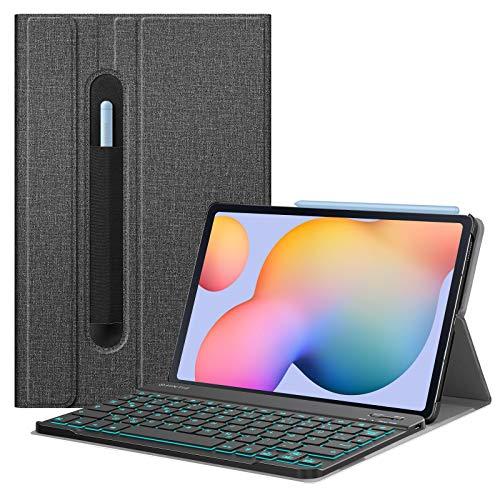 Fintie Beleuchtete Tastatur Hülle für Samsung Galaxy Tab S6 Lite 10,4 Zoll 2020 - Schutzhülle mit Abnehmbarer QWERTZ Tastatur mit Hintergrundbeleuchtung für Samsung Tablet SM-P610/ P615, Dunkelgrau