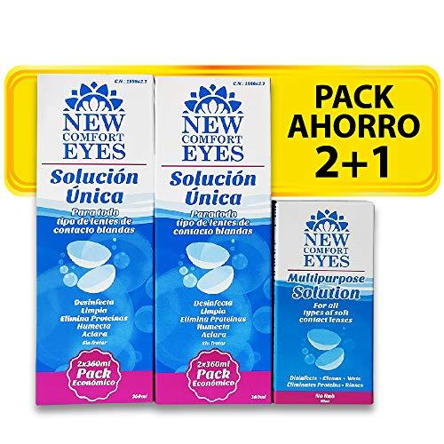 New Comfort Eyes Líquido De Lentillas – Pack Ahorro 2+1 (2 Botes X 360Ml + 1 Bote X 60Ml). Portalentillas Gratis | Para Todo Tipo De Lentes De Contacto | Desinfecta Y Humecta