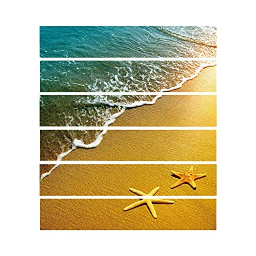 S-TROUBLE 6 Piezas de baldosas de Estrella de mar Junto al mar, Pegatina para escaleras, baño, Cocina, decoración, calcomanías murales Impermeables, Papel Tapiz artístico Adhesivo
