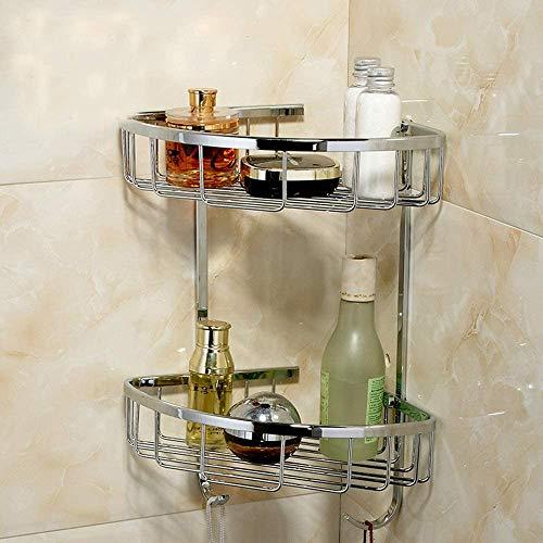 HJW Storage Rack Badezimmer Korb Wc Regale Compact Corner Basket Kosmetikhalter Dusche Lagerung Regale Bad Caddy-Rack,2-Schicht