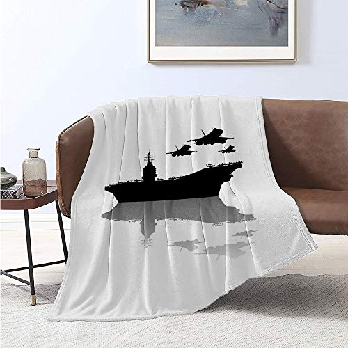 jecycleus US Navy Bedding Flannel Blanket Aircraft Carrier and Airplane Silhouettes Illustraiton Monochrome Design Super Soft and Comfortable Luxury Bed Blanket W57 x L74 Inch Black White Grey