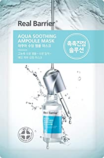 Real Barrier Aqua Soothing Ampoule Mask (5 Count) / 0.95 Fl Oz, 28ml (per sheet) / Hydrating and Calming Sheet Mask for Sensitive Skin