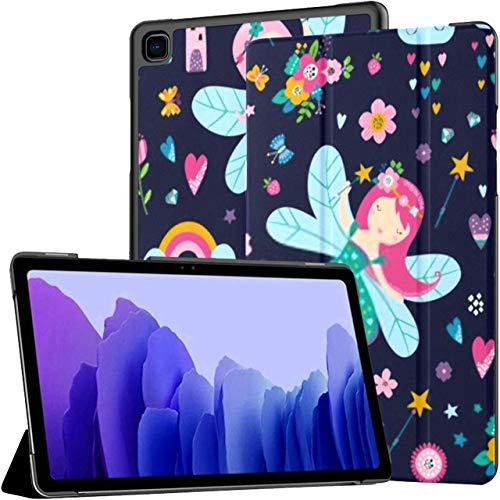 Estuche para Samsung Galaxy Tab A7 Tableta de 10,4 Pulgadas 2020 (sm-t500 / t505 / t507), Vector sin Costuras Patrón Infantil Flores de Hadas Arco Iris Cubierta de Soporte de múltiples ángulos con AC