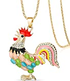 SaySure - Multicolor Cock Rooster Chicken Necklace Crystal -