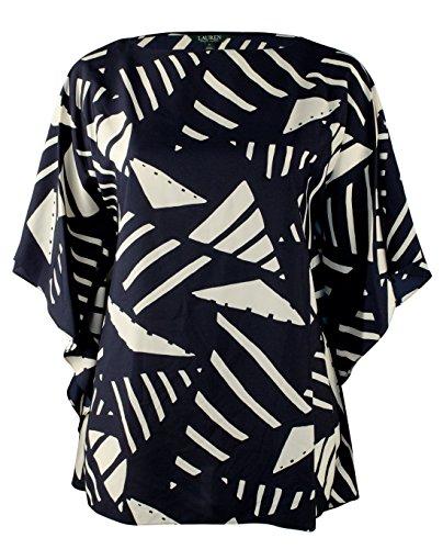 Lauren Ralph Lauren Damen Übergröße Grafikdruck Poncho Tunika - - 2X