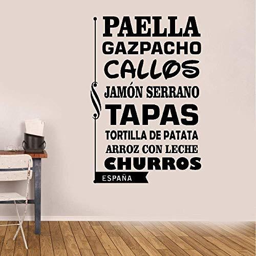 Vivityobert Pegatinas de pared de vinilo pegatinas de pared con cita española paella, gazpacho, callos jamón Serrano tapas tortilla de patata para cocina comedor