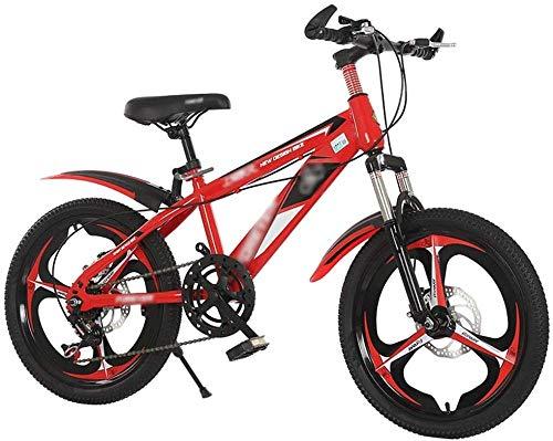 XBSLJ Kinderfahrrad mit Scheibenbremsen, Federung vorne, Mountainbike aus Aluminium, 18-20 Zoll für Kinder von 7-9 Jahren, Mädchen und Jungen Ruedas de 18 pulgadas rot