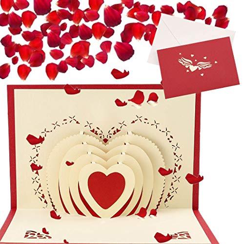 Sethexy 3D día de San Valentín Tarjetas de felicitación con sobres Surgir Amor Invitaciones de boda Tarjetas de felicitación Aniversario Regalo para Novia Novio Esposa Esposo Amigos Familia