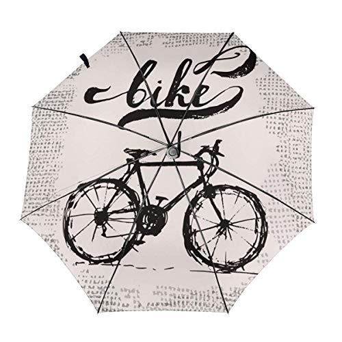 Paraguas de bicicleta vintage negro y blanco a prueba de viento paraguas...