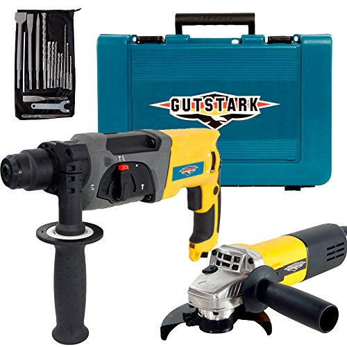 Gutstark Kit Rotomartillo Esmeriladora Taladro Cincelador SDS Plus Demoledor 9 Brocas 4 Cinceles 110 V 980 W 10000 RPM