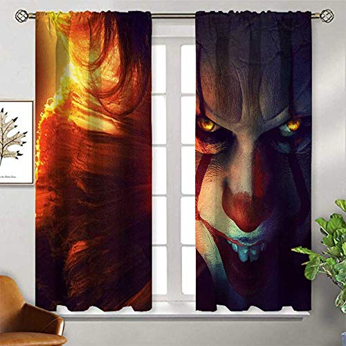 Modern Blackout Curtain 2 Panel 55x45 inch it Chapter Two 2019 4k Pennywise 86 Curtain Panels for Bedroom &Kitchen