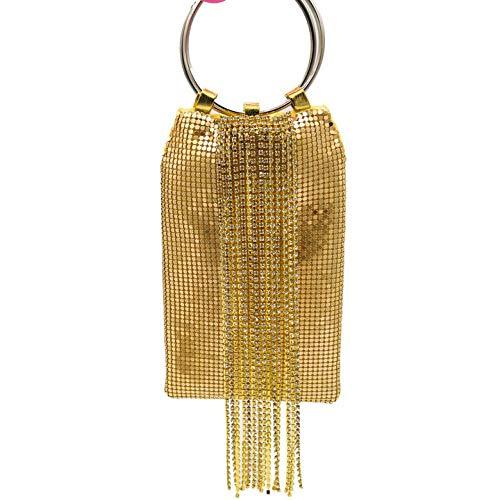 Bolso De Noche Mujeres Deslumbrante Plata Cristal Borla Mujer Aluminio Noche Monedero Cóctel Fiesta Pulseras Embrague Bolso-Gold_Evening_Bag