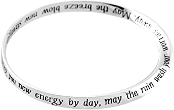 Jozie B May The Sun Rain and Breeze Blessing Womens Silver Plated One Size Fits Most Bangle Bracelet