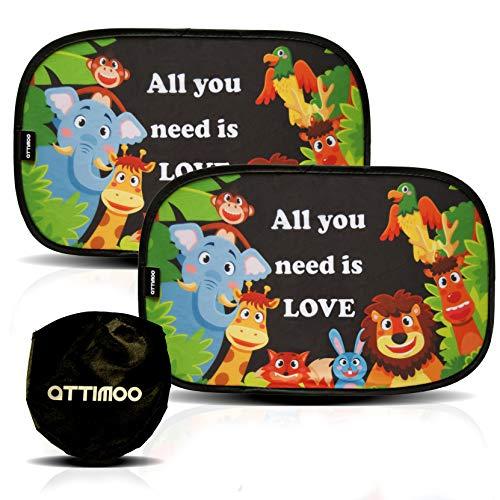 ATTIMOO - Tendine Parasole Auto Bambini Universali Adesive Di 2a Generazione - Kit Di 2 Tende Parasole Senza Ventose - Accessori Auto Coppia Di Tende Da Sole 51x31 Cm - Tendine Da Sole Con Animali