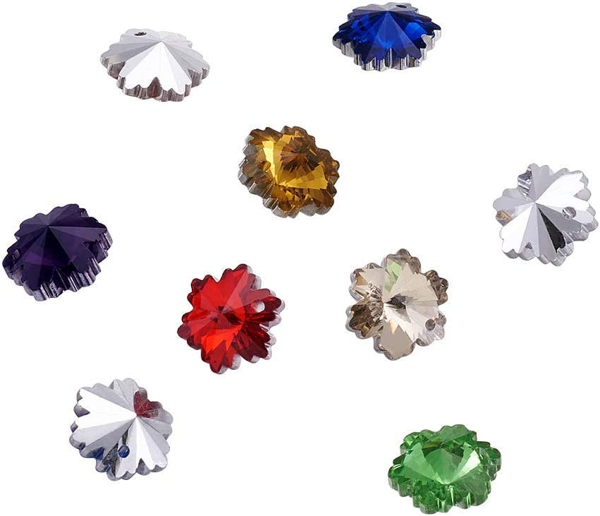 Ranking TOP3 100Pcs Random Mixed Colors Faceted Charms Glass 14x7mm Snowflake trust