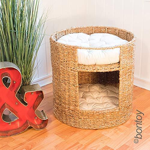 Bontoy Katzenkorb mit Katzenhöhle rund aus Seegras 50cm