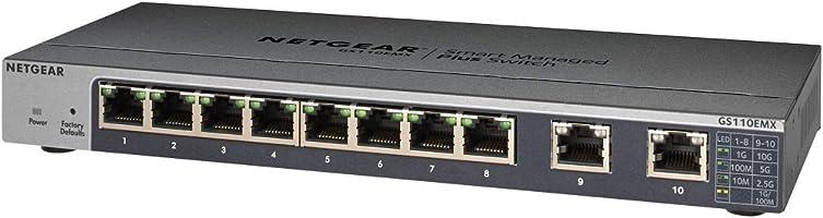 NETGEAR 卓上型コンパクト アンマネージプラス スイッチングハブ GS110EMX ギガビット8ポート + 10G (2ポート) 静音ファンレス