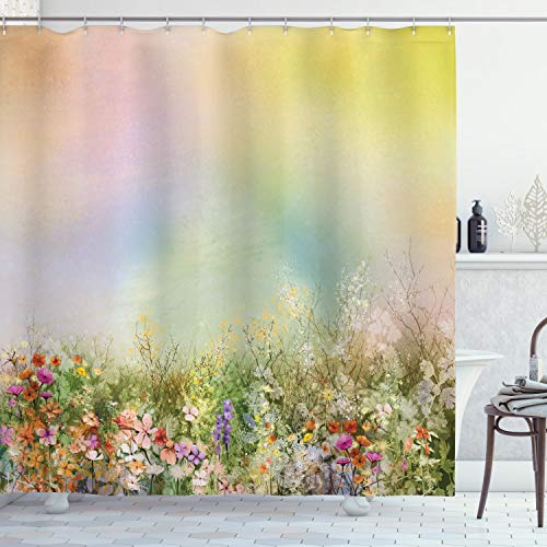 Ambesonne Flower Shower Curtain, Cosmos Daisy Cornflower Wildflower Dandelion in Floral Meadow Drawing of Nature, Cloth Fabric Bathroom Decor Set with Hooks, 84