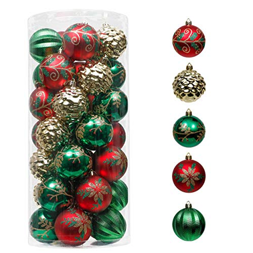 Valery Madelyn 35ct 70mm Traditional Green Red Gold Christmas Ball Ornaments, Shatterproof Christmas Tree Ornaments for Xmas Christmas Decoration Home Decor, Themed with Tree Skirt (Not Included)