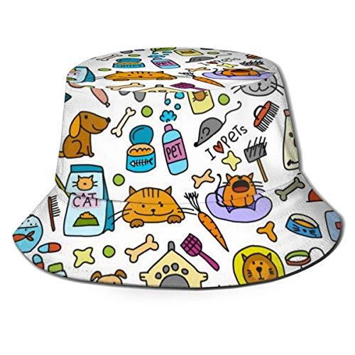 Hdadwy Fondo de Tienda de Mascotas para su diseño 1304 Gorra de Pescador de Verano con Estampado Lindo Unisex