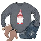 Little Santa Claus Printed T-Shirt for Women Funny Christmas Celebration Shirt Long Sleeve Tees Tops (Gray, XXL)