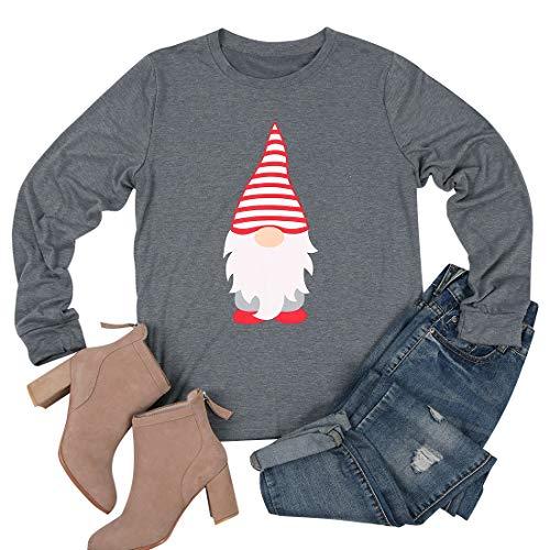 Little Santa Claus Printed T-Shirt for Women Funny Christmas Celebration Shirt Long Sleeve Tees Tops (Gray, XL)