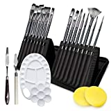 Adkwse Paint Brush Set for Acrylic Oil Watercolor Canvas Gouache Easter Painting Brushes Includes Pop-up Carrying Case with 1 Paint Tray, 2 Palette Knife and 2 Sponges Knife and 2 Sponges