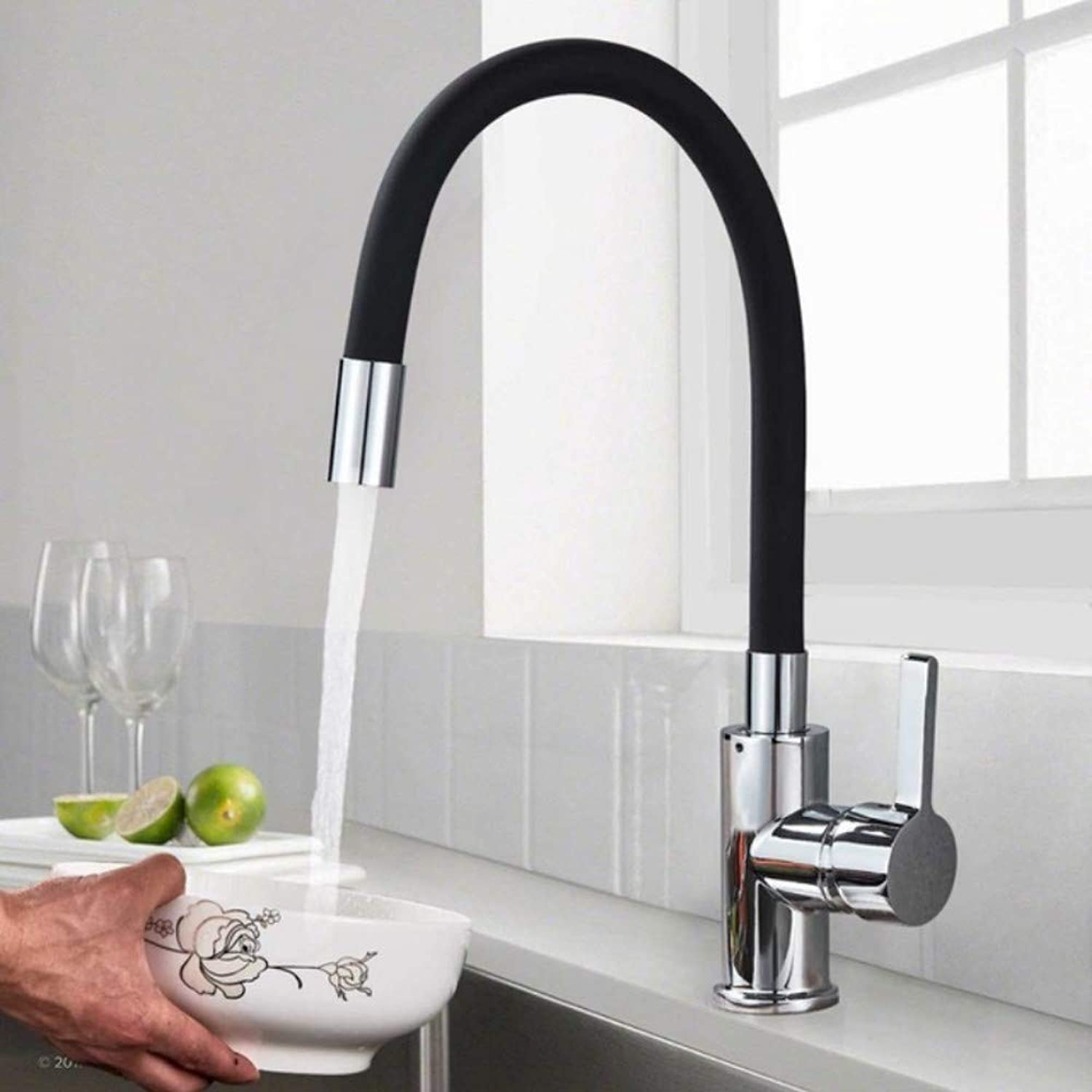 Mzdpp Pipe Flexible Neck Kitchen Sink Faucet Chrome Universal Pipe Hot Cold Kitchen Mixer Tap Deck Mounted Bathroom Kitchen Tap,Black FT-556