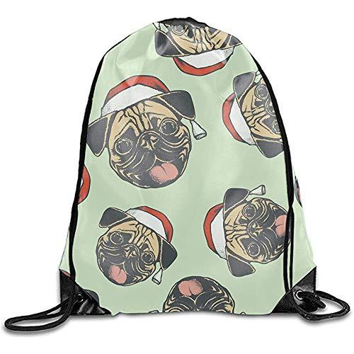 Sanme Weihnachten Mops Druck Schulter Kordelzug Taschen Basic Kordelzug Einkaufssack Werbe Rucksack Tasche