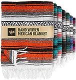 Handcrafted Large Mexican Blankets, Artisanal Handwoven Serape Blanket, Authentic Falsa Blanket, Beach Blanket, Camping Blanket, Picnic Blanket, Outdoor Blanket, Boho Throw Blankets, Orange