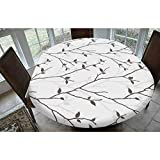 Leaves Polyester Fitted Tablecloth,Branches in the Fall Trees Stem Twig with Last Few Leaves Minimalistic Design Art Decorative Oblong Elastic Edge Fitted Table Cover,Fits Oval Tables 68x48