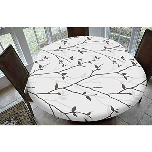 Leaves Polyester Fitted Tablecloth,Branches in the Fall Trees Stem Twig with Last Few Leaves Minimalistic Design Art Decorative Oblong Elastic Edge Fitted Table Cover,Fits Oval Tables 68x48' Brown Gra