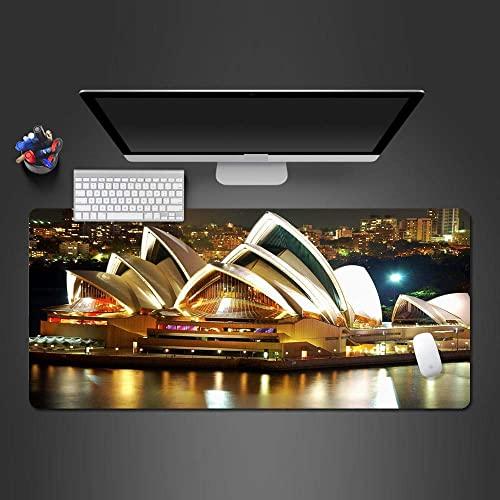 Vista Nocturna De La Ciudad De Sydney Opera House Alfombrilla De Ratón Grande con Base De Goma Antideslizante Alfombrilla De Ratón De Ordenador Impermeable con Bordes Cosidos 900 × 400 mm