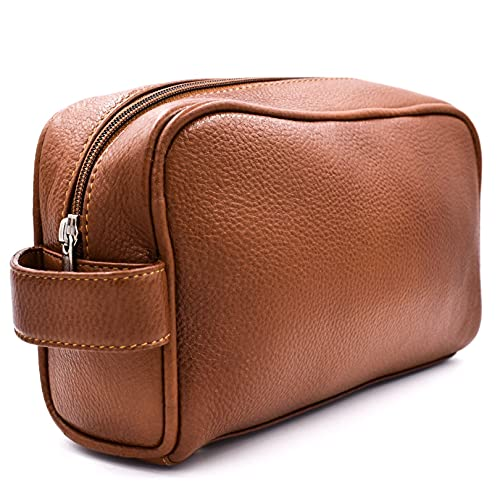 Parker Safety Razor Full Grain Leather Dopp Kit – Handmade Full Size Saddle Brown Leather Toiletry Bag Leather / Dopp Kit / Travel Bag for Effectively Carrying and Storing Toiletries