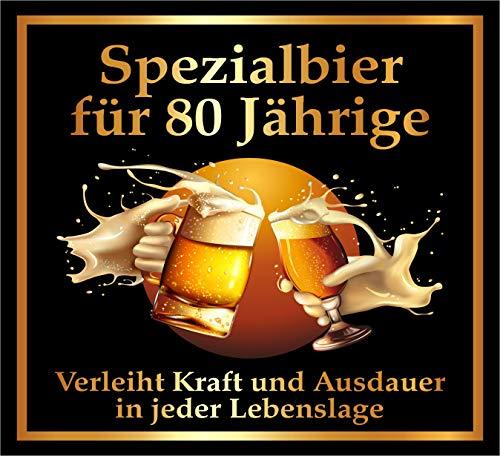 RAHMENLOS 3 St. Aufkleber zum 80. Geburtstag: Spezialbier für 80 Jährige - Selbstklebendes Flaschen-Etikett. Original Design