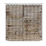 N \ A Duschvorhang-Set Scheunentür, grau-braun, Holzplanke, Western-Stil, rustikal, Badezimmervorhänge, Vintage-Bauernhaus-Baddekorationen, mit Haken, wasserdicht, haltbarer Stoff, 72 x 72 cm