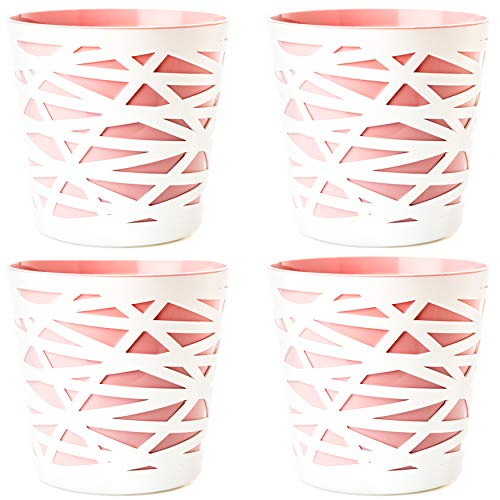 2friends 4er Set Blumentopf Übertopf, 2 in 1, stabilem Kunststoff, mit herausnehmbarem Einsatz, Durchmesser 15 cm, Höhe 15 cm, Altrosa rosé/weiß