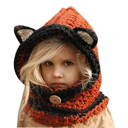 TBATM Baby Viking Knit Hat Beanie Hat Keep Warm Winter Hat Puffy Fox Sombrero Hecho A Mano Gorro De Cuello Babero Cálido para Niños Divertido Y Encantador,Naranja,Baby