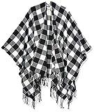 Amazon Brand - Goodthreads Women's Fringe Ruana Wrap Scarf, Cream/Black Buffalo Plaid One Size