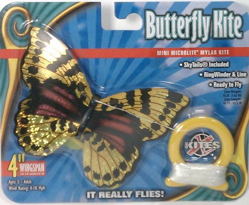 elliot 2180274 Mini Mylar Kites Einleiner-Drachen - Schmetterling, gelb