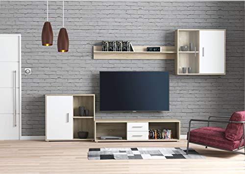 KRYSPOL Wohnwand Viva Anbauwand, Wohnzimmer-Set, Modern Design (Sonoma Eiche/Weiß)