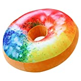 ChezMax Round Doughnut Donut Seat Back Stuffed Cushion Insert Filler Filling Throw Pillow Plush Play for Home Sofa Couch Lounge Decorative Decor Rainbow Cake 16 X 16''