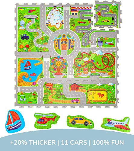 Hakuna Matte Puzzlematte für Babys Urlaub 1,2x1,2m – 16 Schaumstoffplatten mit Straßen – 20% dickere Spielmatte in Einer umweltfreundlichen Verpackung – schadstofffrei, geruchlos, TÜV Formamid geprüft
