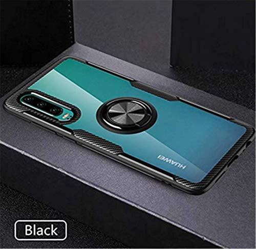 Kompatibel mit Huawei P30 Lite Hülle Huawei P30 Pro/P30 Silikon-Weiche Handyhülle Kickstand 360 Grad Handy transparent Magnetische Autohalterung Anti-Rutsch Schutz (Schwarz 1, P30 Lite) - 2